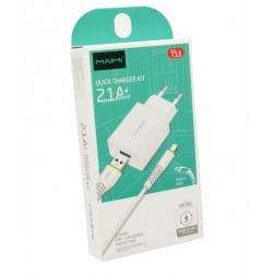 Сетевой адаптер питания MAIMI T13 1USB 2.1A + кабель Micro (белый)