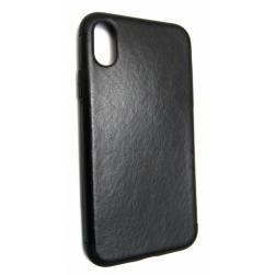 чехол tpu+кожа на iphone x (черный)
