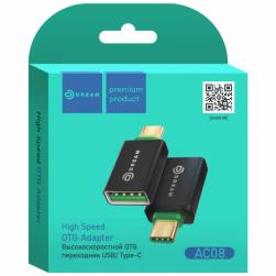 Адаптер OTG AC08 TYPE-C - USB черный