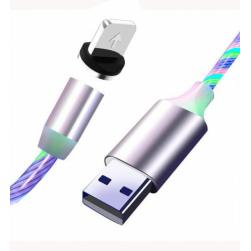 Кабель Usb - Lightning магнитный LED (белый) 1м