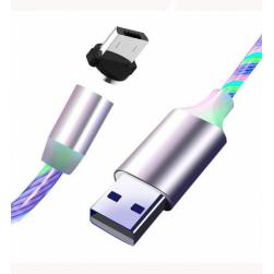 Кабель Usb - MicroUSB магнитный LED (белый) 1м.