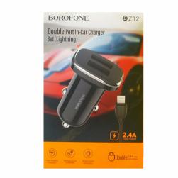 Автомобильный адаптер питания BOROFONE BZ12 2USB 2.4A + кабель Lightning (черный)