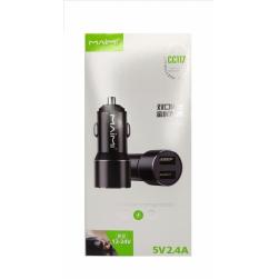 Автомобильный адаптер питания MAIMI CC117 2USB 2.4A Metal (черный)