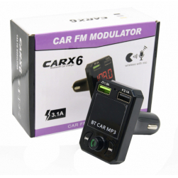 Автомобильный FM-трансмиттер - CARX6 Bluetooth (черный)