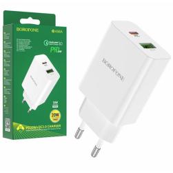 Сетевой адаптер питания BOROFONE BA56A PD 20W+ QC 3.0 (белый)