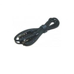 кабель aux 3,5-3,5 - 1,5 м шнурок (черный)