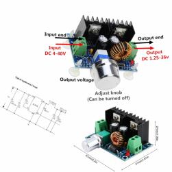 Преобразователь понижающий XL4016 8А/200W 4-40в до 1,25-36в (HX-M401)
