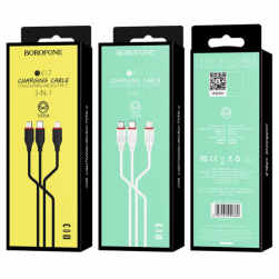 Кабель USB BOROFONE BX17 3 в 1 для iPhone/micro/Type C (белый) 1m